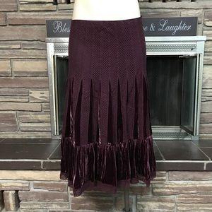 Burgundy knit velvet boho skirt Free People 12
